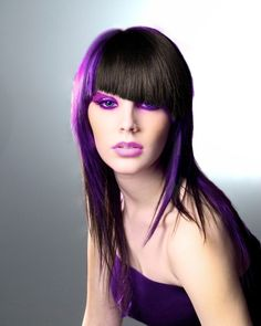 Purple and black hair love the angled fringe x Hair Color Placement, Purple Black Hair, Beauty Corner, Hair Again, Coloured Hair, Bad Hair Day, All Things Beauty, Hair Today, Cool Hairstyles