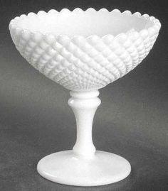 hobnail milk glass compote