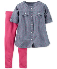 Carter's 2-Pc. Chambray Tunic & Leggings Set, Baby Girls
