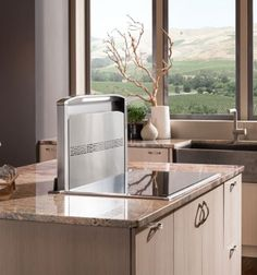Hideaway Vent Hood: Don't be fooled by the slimness of the Cattura downdraft—it can move smoke and steam at the rate of 600 cubic feet a minute thanks to vents strategically placed along the top and sides. The blower, sold separately, works with new ducting options to ease installation. From @bestrangehoods