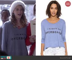 Paige's 'I Always Go Overboard' tee on Pretty Little Liars.  Outfit Details: http://wornontv.net/41903/ #PLL