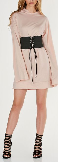 Oversized sweater dress with long sleeves and casual hood. Straight hem with mini side slits with trendy lace up waist belt. - Polyester-Rayon-Spandex blend - Made in USA - Model is wearing size S - R