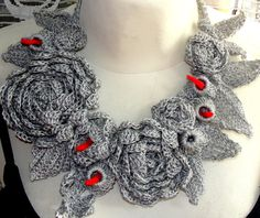 LARIAT crochet in the springer, necklace ,scarflette,scarf,jewelry,leckwarmer, in gray linen with ecofrendly product