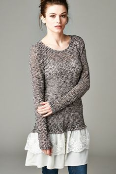 Relaxed, Casual, Feminine Knit Top with Woven and Raw Cut Chiffon Layers. Comfortable, chic and easy. Unlined.