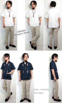 (Corazon) CORAZON #Guayabera Shirts Cuban shirt guayabera shirt Cuban Shirts men's Aloha open-necked mens white Navy sleeve Mexico cotton (/Men's / resort / 34 / 36 / 38 / embroidery / tropical / summer / sale)
