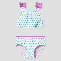 Toddler Girls' Ruffle Bottom Crop Top Swimsuit - Blue 5T - Sugar Coast by Lolli, Multicolored