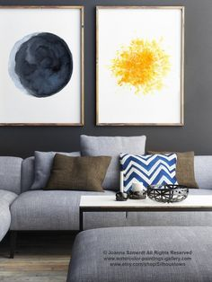 Moon ans Sun set of 2 Watercolor Paintings. Blue and Yellow Living Room Decor. Abstract Minimalist Space Wall Decoration. Full Moon and Gold Star Art Print. Crescent Half Moon Painting. Moon Phases Illustration. A price is for the set of 2 Art Prints as in the first Picture. Type of paper: Prints up to (42x29,7cm) 11x16 inch size are printed on Archival Acid Free 270g/m2 White Watercolor Fine Art Paper and retains the look of original painting. Larger prints are printed on 200g/m2 ...