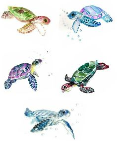 Watercolor sea turtle tattoo mural More