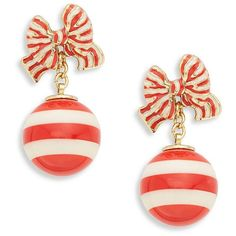 Kate Spade New York Out of the Loop Drop Earrings ($29) ❤ liked on Polyvore featuring jewelry, earrings, red, loop earrings, ball earrings, charm earrings, earring charms and red jewelry