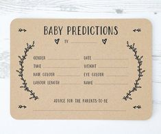 A beautiful set of Gender-Neutral Baby Prediction Cards. An exciting way to engage everyone at Baby showers and a nice keepsake for the mum-to-be afterwards. The simple and rustic design allows them to work with a variety of themes. Baby Prediction Pack I Baby Shower Game Gifts, Deco Baby Shower, Shower Bebe, Shower Gifts, Baby Shower Games Printable, Baby Shower Goodie Bags, Unisex Baby Shower, Cute Baby Shower Ideas, Baby Boy Shower Games