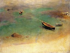 """A Boat in the Waters off Capri,"" John Singer Sargent, ca. 1878, oil on canvas, 18 x 23.5"", private collection."