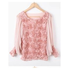 Pink Long Sleeve Flowers Chiffon Blouse ($33) ❤ liked on Polyvore