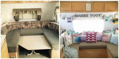 Blog about two sisters transforming a dated camper:: Maisie Toot ::: Part 9:: Maisie Toot Before and After Comparisons:: Complete travel trailer camper turned glamper renovation and remodel