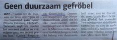 Motie GroenLinks duurzaamheidstoets haalt het niet, bron: Nieuwsbode, 4-2-15