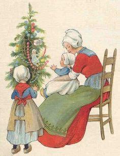 dutch mother and children ~ vintage christmas card Swedish Christmas, Christmas Past, Scandinavian Christmas, Family Christmas, Christmas Signs, Vintage Christmas Cards, Xmas Cards, Vintage Cards, Vintage Postcards