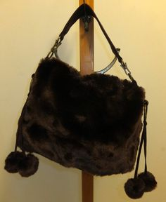 Luxuriously thick faux fur dark brown woman's satchel style purse NICE