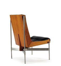 Richard Tuttle LOW CHAIR walnut, leather, steel 35 3/4 in (90.8 cm) high ca. 1959 manufactured by Stanley Reifel
