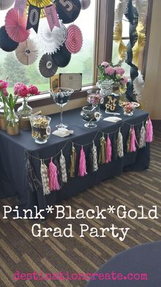 Adults love party favors as much as kids do, especially if it's something to eat! CLICK through for favor table ideas from this Black*Gold*Pink graduation Party. Read the post and download FREE PRINTABLES too. http://destinationcreate.com/party-favor-tables-that-adults-will-love/ #graduationdecorations