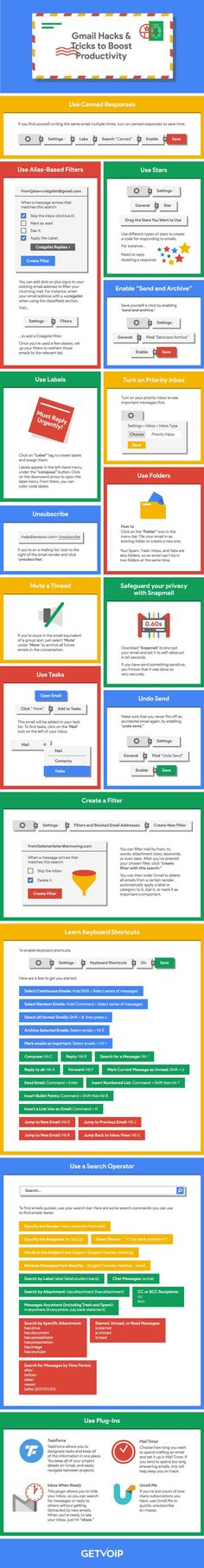 Gmail tips: Don't waste hours in your inbox! Click to blog for 16 Gmail hacks and tricks to reclaim your life. Entrepreneurs, bloggers, business owners: Repin this infographic! #gmail #productivity #entrepreneurlife #businesstips #infographic #timemanagement