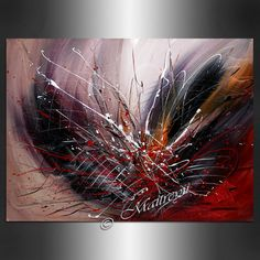 Decorate your home and office with the original art work on canvas. This is one of the best quality abstract oil painting made by Maitreyii Fine Art.  More paintings available here: http://www.etsy.com/shop/largeartwork  =========================================================  TITLE: Abstract Art 94  SIZE: 40Wide, 30|Tall, 3/4Deep (Stretched Canvas ready to hang)   ~~ COLOR: Red, white, Black  ~~ MEDIUM: Professional grade acrylic paint. All paintings on my listing pages are original and…