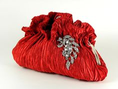 Red Valentine Clutch Purse with Crystal Leaves Accent