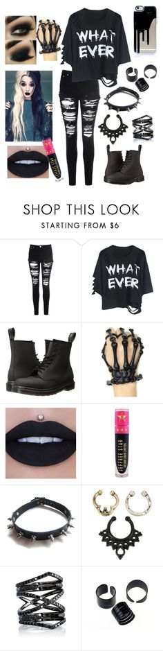 """Whatever!!"" by emo-roxanne ❤ liked on Polyvore featuring Glamorous, Dr. Martens, Jeffree Star, WithChic, Hot Topic and Eva Fehren"