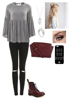 """Untitled #200"" by mckenziestripling ❤ liked on Polyvore featuring Topshop, Dr. Martens, Lucky Brand, MICHAEL Michael Kors, black, follow and drmarten"