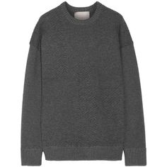 Jason Wu - Oversized Textured Stretch-knit Sweater (1.100 BRL) ❤ liked on Polyvore featuring tops, sweaters, grey, textured top, over sized sweaters, gray sweater, gray top and embellished top