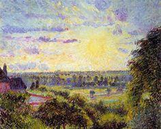 Sunset at Eragny~ Camille Pissarro   Lone Quixote   #CamillePissarro #pissarro #impressionism #art #painting #landscape
