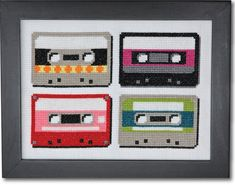 A set of 4 super cool retro cassette tapes. Stitch them as shown, or use separately in 4 embroidery hoops, or try using one on a card. This pattern arrives as an Instant Download!A few minutes after your payment is processed, you'll receive a separate email with a link to download your pattern(s) immediately. Pattern