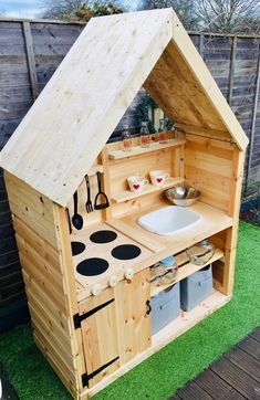 Second Hand Toys and Games, Buy and Sell - Wooden kids mud kitchen with bowl playhouse style, size x worktop height overall he - Outdoor Play Kitchen, Diy Mud Kitchen, Mud Kitchen For Kids, Kids Outdoor Play, Outdoor Play Areas, Kids Play Area, Backyard For Kids, Outdoor Play Structures, Kitchen Ideas