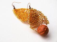 Bead earrings Golden wire wrapped earrings seed by RasaVilJewelry, €18.00