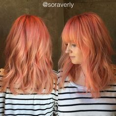 Hair by Raven Camacho Austin Tx @soraverly   •coral • pravana • pastel hair • hair inspiration • hair color