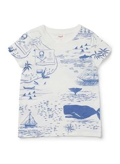 100% Cotton slub short sleeve tee featuring treasure map placement print on front and back.