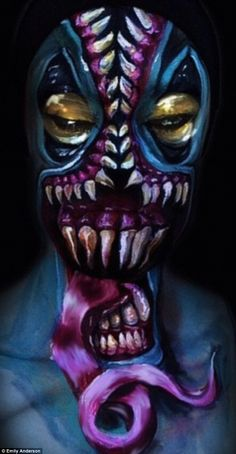 Body parts: Emily often gets inspiration from pop culture for her creations, such as the Venom X Anti-Venom from Spider-Man 3 Special Makeup, Special Effects Makeup, Artist Painting, Body Painting, 31 Days Of Halloween, Maquillage Halloween, Pop Culture, Body Art, Creatures