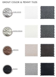 The Difference Grout Color Can Make To Your Tiles - Emily Henderson grout-color-and-penny-tiles-emily-henderson-design Black Grout, Black Tiles, White Wall Tiles, Hexagon Tile Bathroom, Mosaic Tiles, Bathroom Backsplash Tile, Hex Tile, Cement Tiles, Marble Mosaic