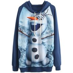 Navy Blue Cute Olaf Printed Womens Pullover Frozen Hoodie ($22) ❤ liked on Polyvore featuring tops, hoodies, sweaters, jackets, shirts, navy blue, hoodie shirt, blue hooded sweatshirt, navy blue hoodie and blue pullover hoodie