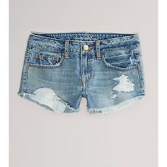AE Destroyed Festival Shortie ($15) ❤ liked on Polyvore featuring shorts, american eagle, bottoms, denim shorts, medium destroyed, ripped jean shorts, vintage denim shorts, low rise shorts, american eagle outfitters and destroyed shorts