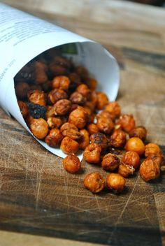 Great snack idea! Spicy baked chickpeas...easy low-fat, high-protein snack.