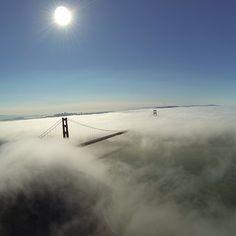 "@GoPro's photo: ""A rare foggy summer day in San Francisco captured from above by GoPro athlete @shonbollock and his @djiphantom. #GoPro #goldengatebridge #SanFrancisco #fog #djiphantom"""
