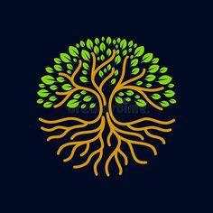 Illustration about Tree roots circle logo badge modern, labels and design elements. Illustration of branch, dark, illustration - 111737919 Tree Of Life Logo, Tree Of Life Art, Roots Drawing, Roots Logo, Tree Sleeve, Brain Icon, Brain Logo, Tree Logos, Circle Logos