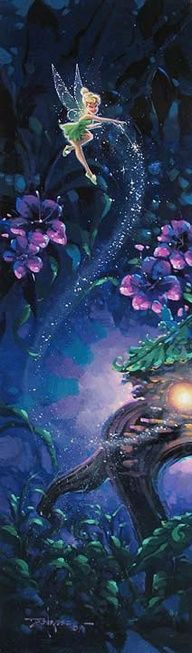 Tinker Bell at night with purple flowers