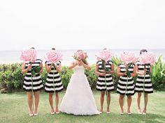 bride and bridesmaids - photo by Ashley Goodwin http://ruffledblog.com/kate-spade-inspired-wedding-in-hawaii