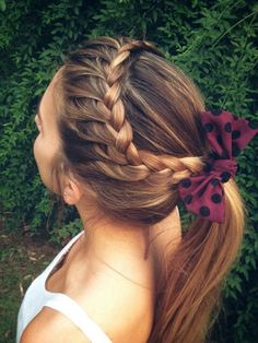 Stunning Braided Ponytail Hairstyles 2020 150 Stunning Braided Ponytail Hairdo for Enchanting Appearance Pretty Hairstyles, Braided Hairstyles, Cute Cheer Hairstyles, Girl Hairstyles, Volleyball Hairstyles, Hairstyles 2018, School Hairstyles, Everyday Hairstyles, Latest Hairstyles