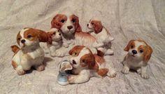 Vintage 1980s four piece homco or home interiors porcelain figurine