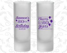 20th Birthday Frosted Shooter Glasses, Cheers to 20 Years, Balloons, Birthday Frosted Shooters (20004)