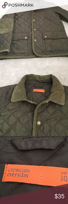 Crewcuts quilted everyday jacket Excellent condition like new crewcuts quilted everyday jacket.  Olive green with brass hardware and corduroy collar, elbow patches and trim. crewcuts Jackets & Coats
