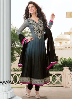 $155 Grey Georgette Ankle Length Kalidar Suit