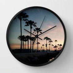 Palm Tree Marina Lane Wall Clock #wall #clock #time #palmtrees #paradise #homedecor #walldecor #decor