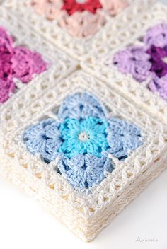 Crochet Granny Square Patterns Ravelry: Crochet Square Motif pattern by Anabelia Handmade - I definitely recommend it you for getting a comfortable and enjoyable crochet time in which you don't need to pay attention to complicated stitches. Motifs Granny Square, Crochet Motifs, Granny Square Crochet Pattern, Crochet Blocks, Afghan Crochet Patterns, Crochet Squares, Ravelry Crochet, Crochet Afghans, Blanket Crochet